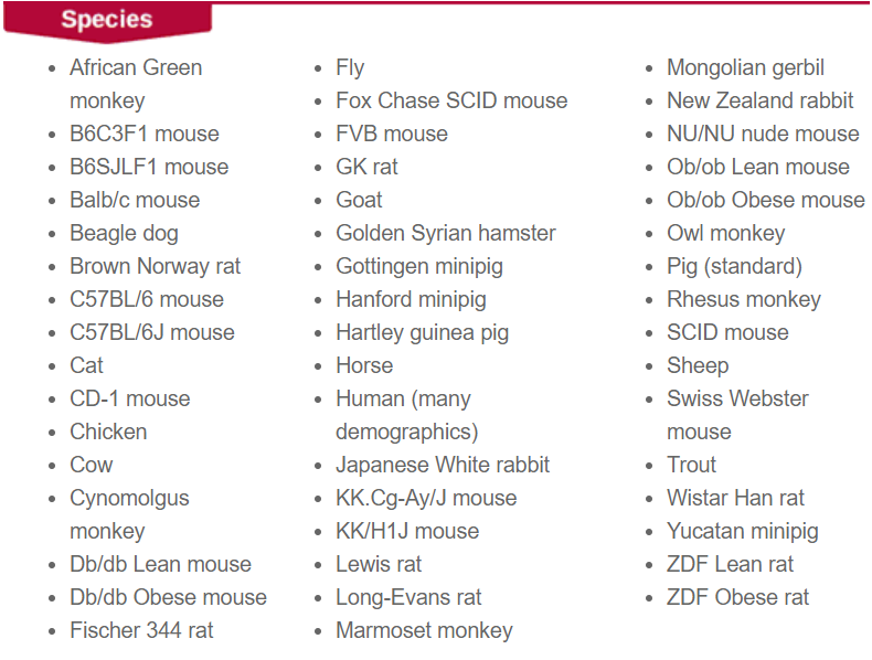 Non-exhaustive list of Sekisui Xenotech's offer in terms of species, tissues and fractions type for custom productions - tebu-bio