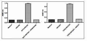 IDO1 (left) and TDO (right) activity in IDO1 and TDO Cell-Based Assay Kits.