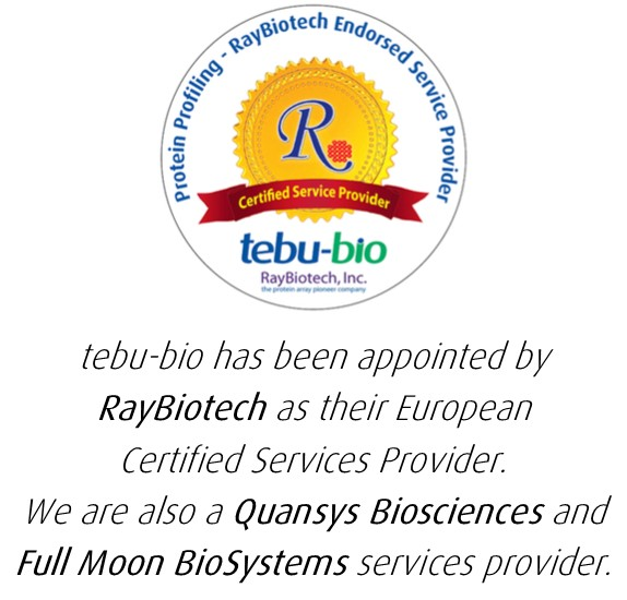 tebu-bio has been endorsed by RayBiotech as their certified European services provider.